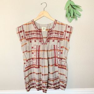 ANTHROPOLOGIE Boho Casual Embroidered Blouse Sm
